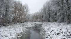 beautiful landscape with winter ubed river - stock photo