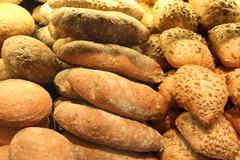 Appetizing bread on showcase Stock Photos