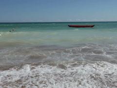 muddy ferocious dramatic ocean breaking waves washing beach sand - stock footage