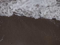 Lace foam whitecap breaking ocean waves washing shore beach sand Stock Footage