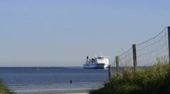 Ferry at the Baltic sea, Świnoujście, Poland Stock Footage