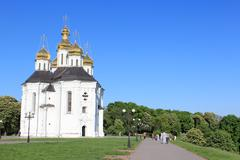 beautiful church on a background of the blue sky - stock photo