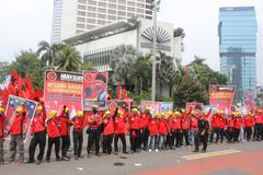 Workers Marched May Day in Jakarta Stock Photos