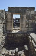 Capernaum white synagogue Stock Photos