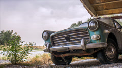 old abandoned car - stock footage