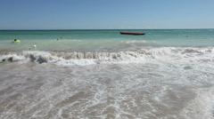 ferocious dramatic ocean breaking waves washing beach sand wide shot - stock footage