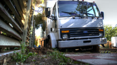 Box truck stuck in the mud Stock Footage