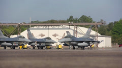 F-16's training alongside the F-35 Lightning II at Eglin Air Force Base, Florida Stock Footage