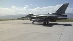 Arrival of the 100th Fighter Squadron F-16 Fighting Falcons at Bagram Airfield Stock Footage