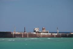 Evangelia shipwreck beached on the black sea coast Stock Footage