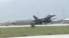 Arrival of the 100th Fighter Squadron F-16 Fighting Falcons at Bagram Airfield - stock footage