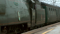 Vintage Steam Train and Railway Carriages Stock Footage