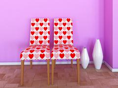 Chairs hearts Stock Illustration