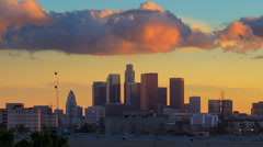 4K. Downtown Los Angels city skyline, sunset to night change. Timelapse. Stock Footage