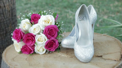 Bouquet of Roses and high heels Stock Footage