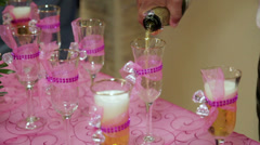 Getting ready for a cider toast at quinceanera Stock Footage
