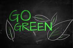 Go Green Text on blackboard Stock Illustration