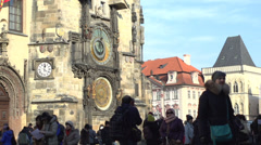 Astronomical clock located in Prague Stock Footage