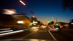 POV driving at night in city of West Hollywood, California. Timelapse. Stock Footage