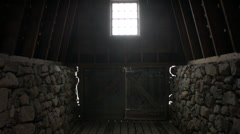 Old rock house barn doors opening Stock Footage