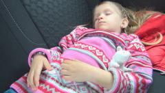 Tired Little Girl Fallen Asleep, Sleeping Child Traveling by Car, Trip, Voyage Stock Footage