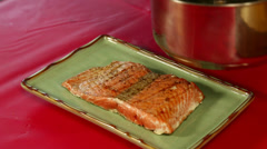 Brushing Sauce on a Salmon Fillet - stock footage