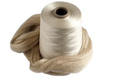 Silk yarn bobbin and raw silk skein  Stock Photos