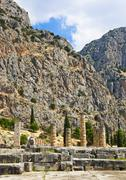 Ruins of Apollo temple in Delphi, Greece Stock Photos