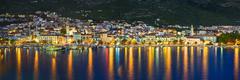Town Makarska in Croatia at night - stock photo