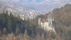 Dracula Bran Castle Landmark, Traveling in Romania Tourism, Brasov Transylvania Stock Footage