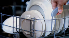 FullHD video of opening dish washer close-up Stock Footage