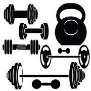 silhouettes of weights - stock illustration