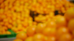 Mandarines on a counter Stock Footage