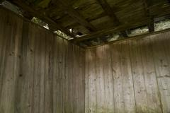 Wooden  panelling in derelict quarry gunpowder store Stock Photos