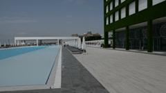 Panning the swimming pool at the modern luxury hotel, Antalya, Turkey Stock Footage