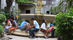 People in catholic church of the Basilica del Santo Nino. Cebu, Philippines. Stock Footage