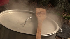 Stock Video Footage of Stirring paddle on top of crawfish boiling pot