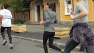 People Running in Street Race, Kiev City Marathon 2014 HD Stock Footage