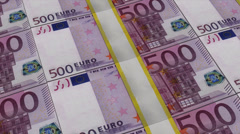 Stacks of 500 euro notes panning, cgi effect, 1080 + 4k resolution Stock Footage