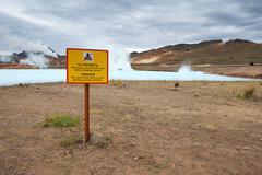warning sign near the toxic pond, myvatn lake area, iceland - stock photo