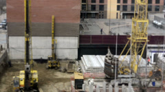 Concrete piles on construction site. Time Lapse Stock Footage