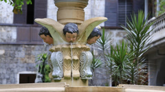 Fountain in the old catholic church Basilica del Santo Nino. Cebu, Philippines. Stock Footage