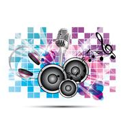 colored background music with headphones and speakers, microphone - stock illustration