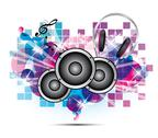 Stock Illustration of colored background music with headphones and speakers