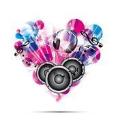 love for music concept illustration on white background - stock illustration
