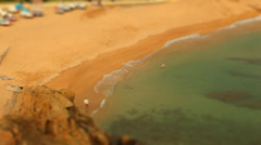 Port and Beach - People swimming on the beach- Tilt Shift (miniature effect) Stock Footage