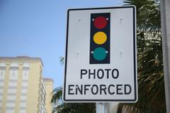 Photo Enforced Sign - stock photo