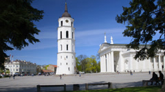 Vilnius cityscape, Cathedral Square, Cathedral Basilica and Belfry, Lithuania. - stock footage