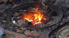 Blacksmith Fireplace coal fire burning Stock Footage