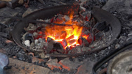 Stock Video Footage of Blacksmith Fireplace coal fire burning